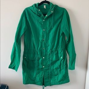 American apparel green rain jacket.